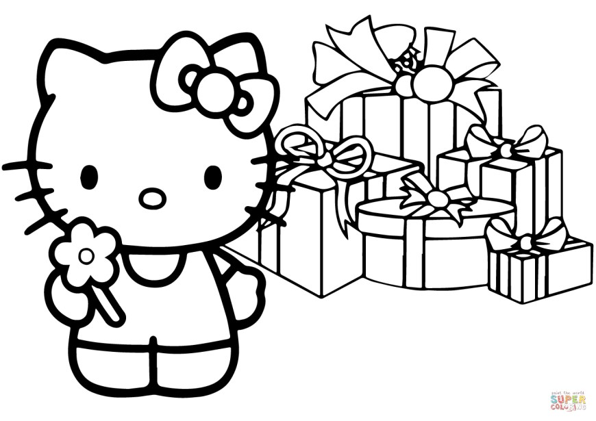 Christmas Coloring Pages Hello Kitty Happy Christmas Coloring Page Free Printable Coloring