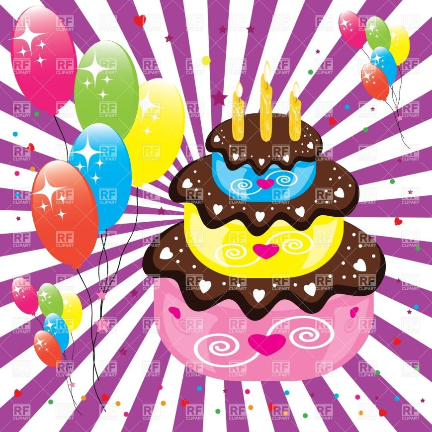Clip Art Birthday Cake Birthday Cake And Balloons Vector Image Vector Artwork Of Food And