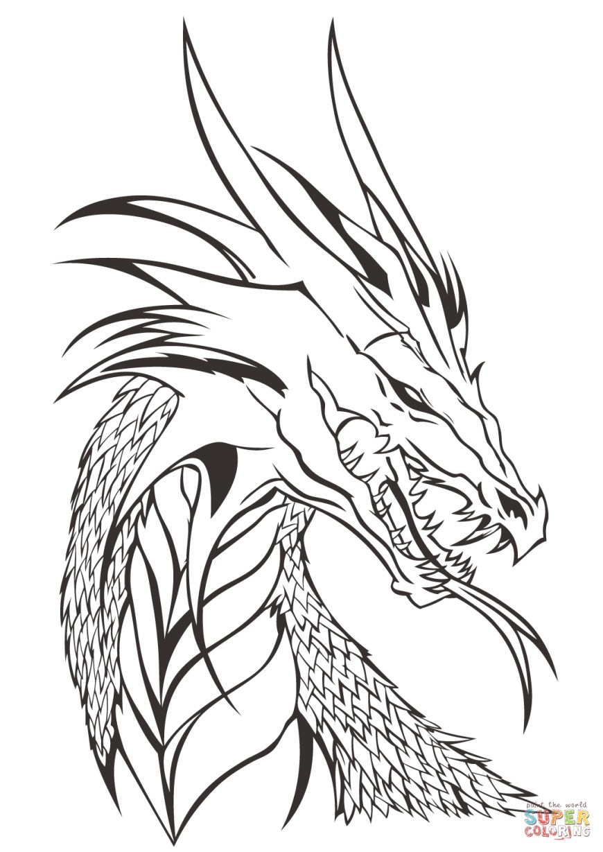 Coloring Pages Dragons Dragon Head Coloring Page Free Printable Coloring Pages
