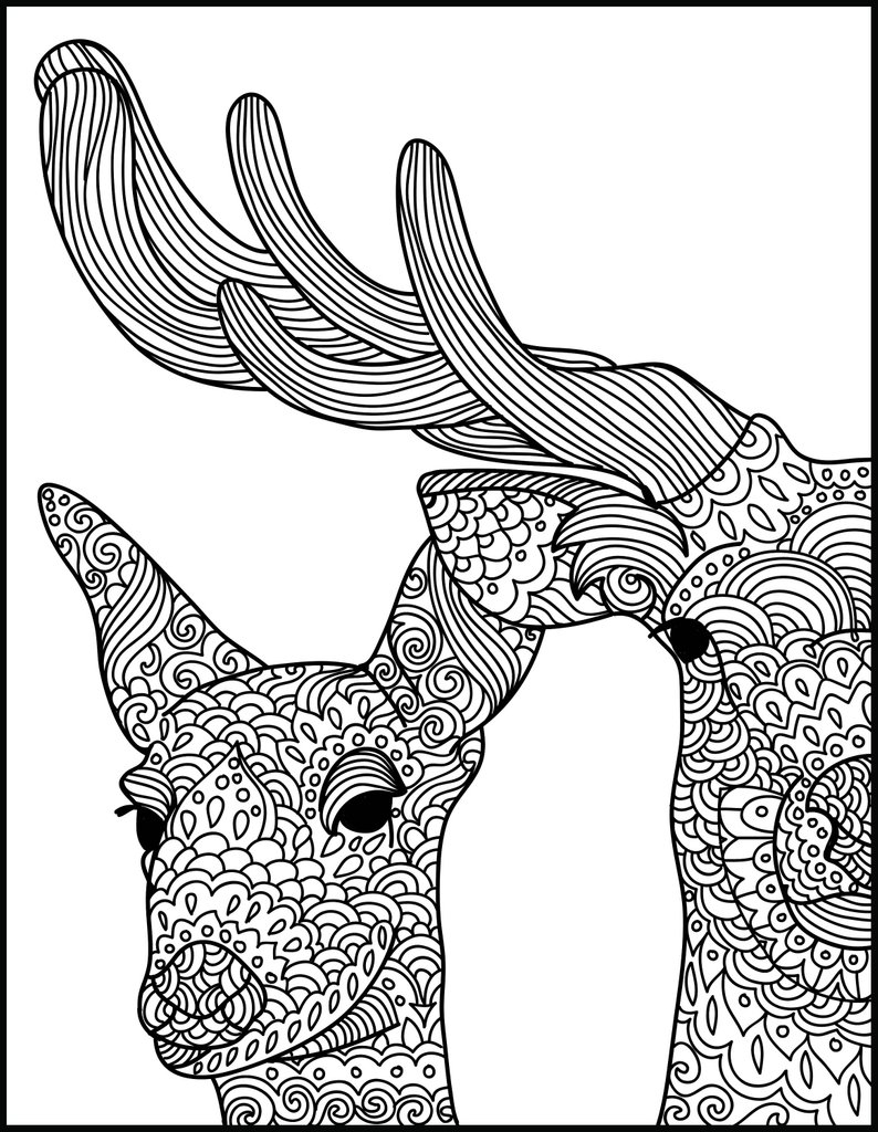 Coloring Pages For Adults Printable Animal Adult Coloring Page Deer Printable Coloring Page Etsy