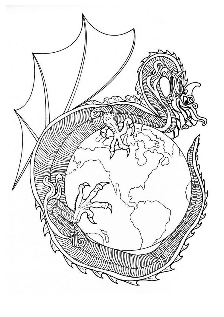 Coloring Pages Mandala Dragon Of World Mandala Coloring Pages Hellokids Ganzes Mandala