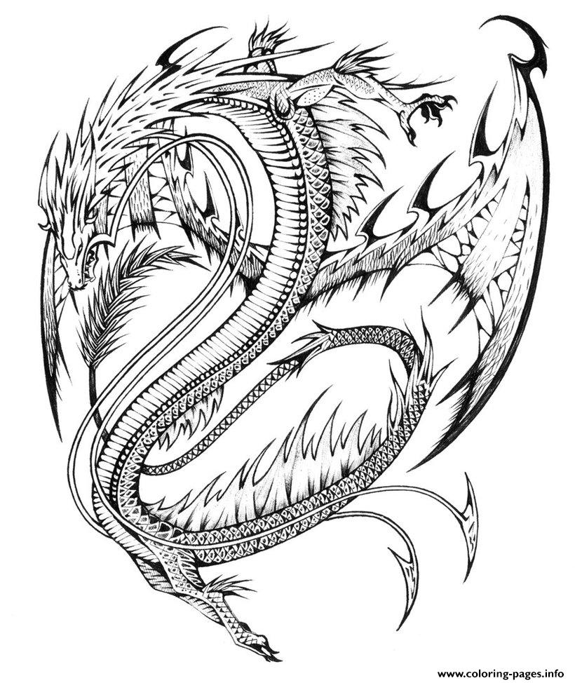 Coloring Pages Of Dragons Adults Difficult Dragons Coloring Pages Printable