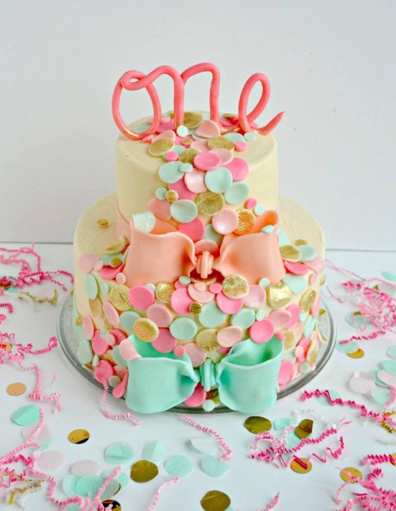 Confetti Birthday Cake Confetti Themed First Birthday Cake Cakecentral