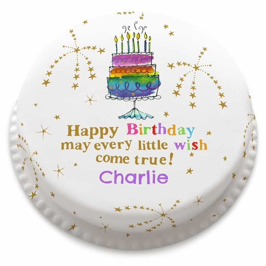 Confetti Birthday Cake Personalised Rainbow Confetti Birthday Cake From 1499 Bakerdays