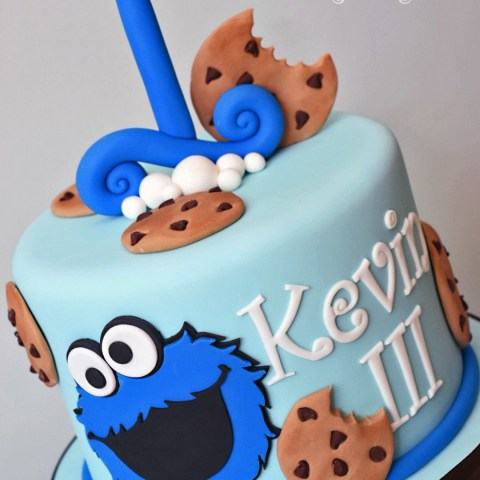 Cookie Monster Birthday Cake Cookie Monster Theme 1st Birthday Cake K Noelle Cakes Cakes