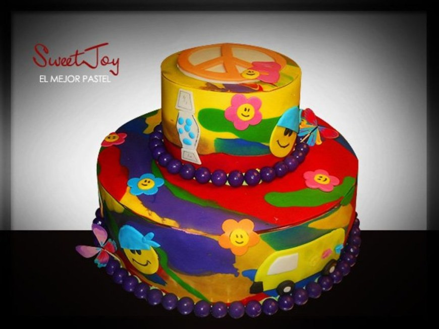 Cool Birthday Cake Groovy Tie Dye Cool Birthday Cake Cakecentral