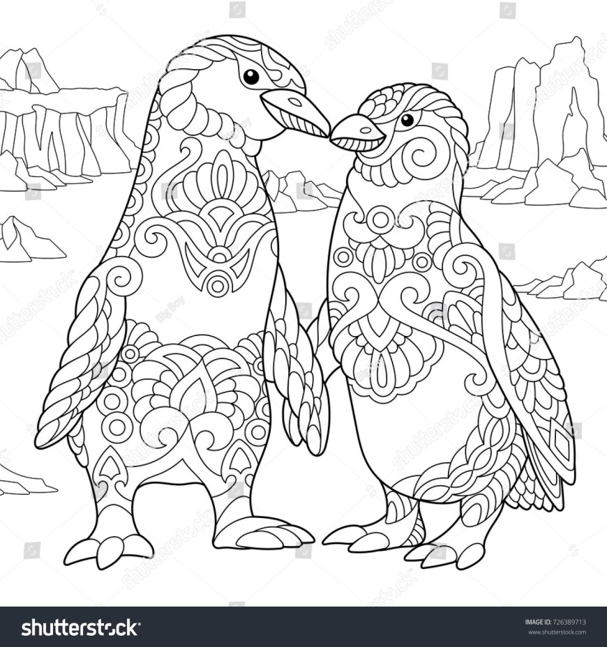 Couple Coloring Pages Coloring Page Of Emperor Penguins Couple In Love Freehand Sketch