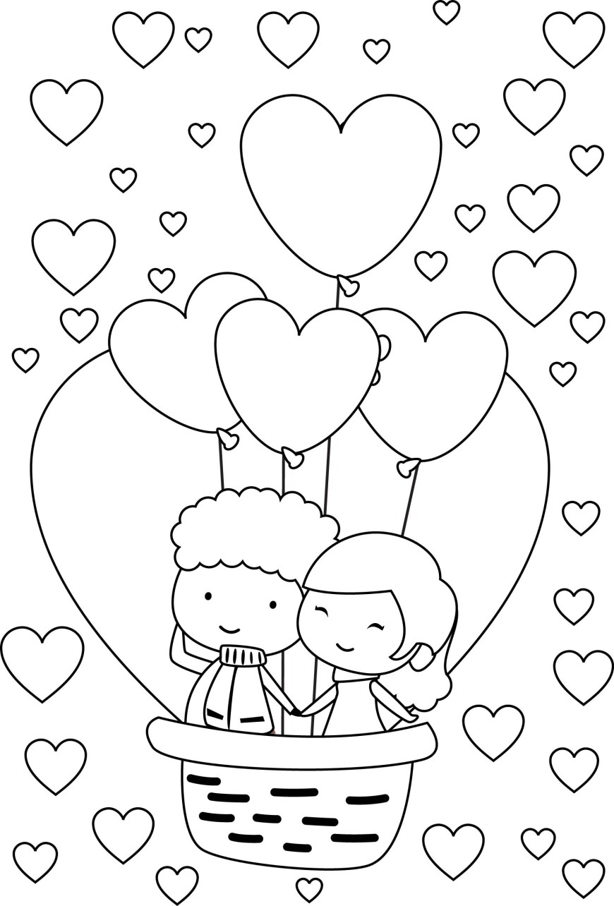 Couple Coloring Pages Happy Cute Valentine Young Couple Coloring Page Wecoloringpage
