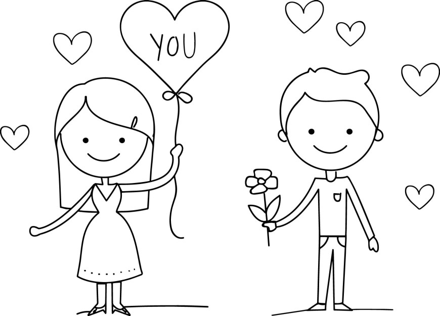 Couple Coloring Pages Love Couple Valentine Day Coloring Page Wecoloringpage