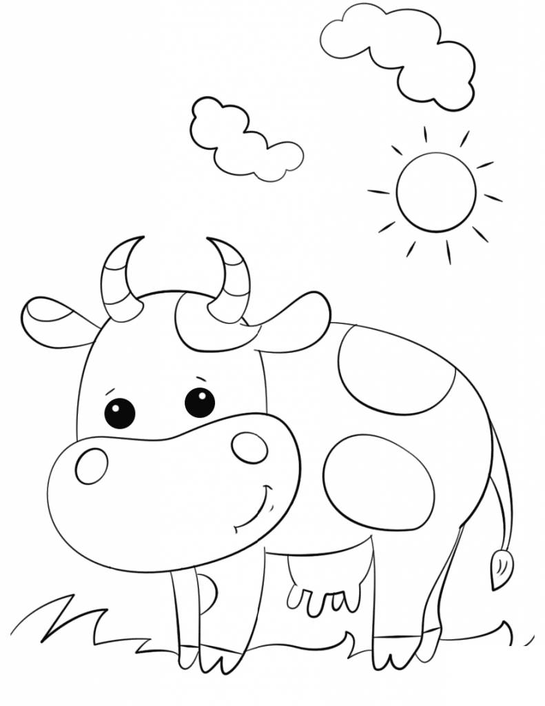 Cow Coloring Page Cows Coloring Pages Cartoon Cow For Preschool Get Coloring Page