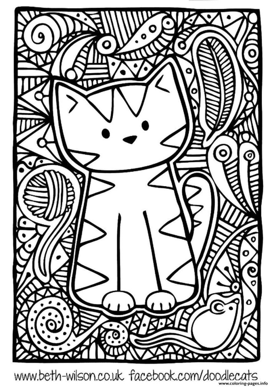 Cute Cat Coloring Pages Adult Difficult Cute Cat Coloring Pages Printable