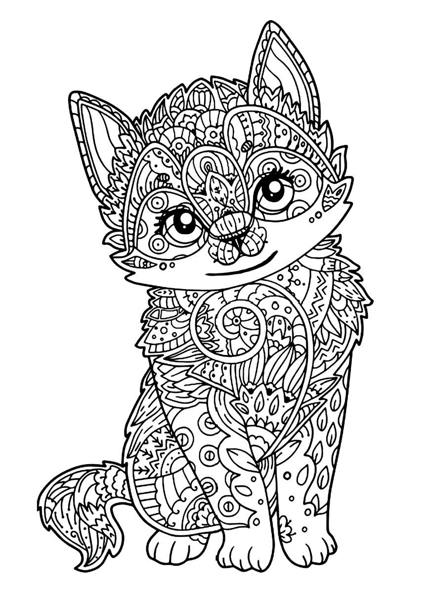 Cute Cat Coloring Pages Cute Kitten Cats Adult Coloring Pages
