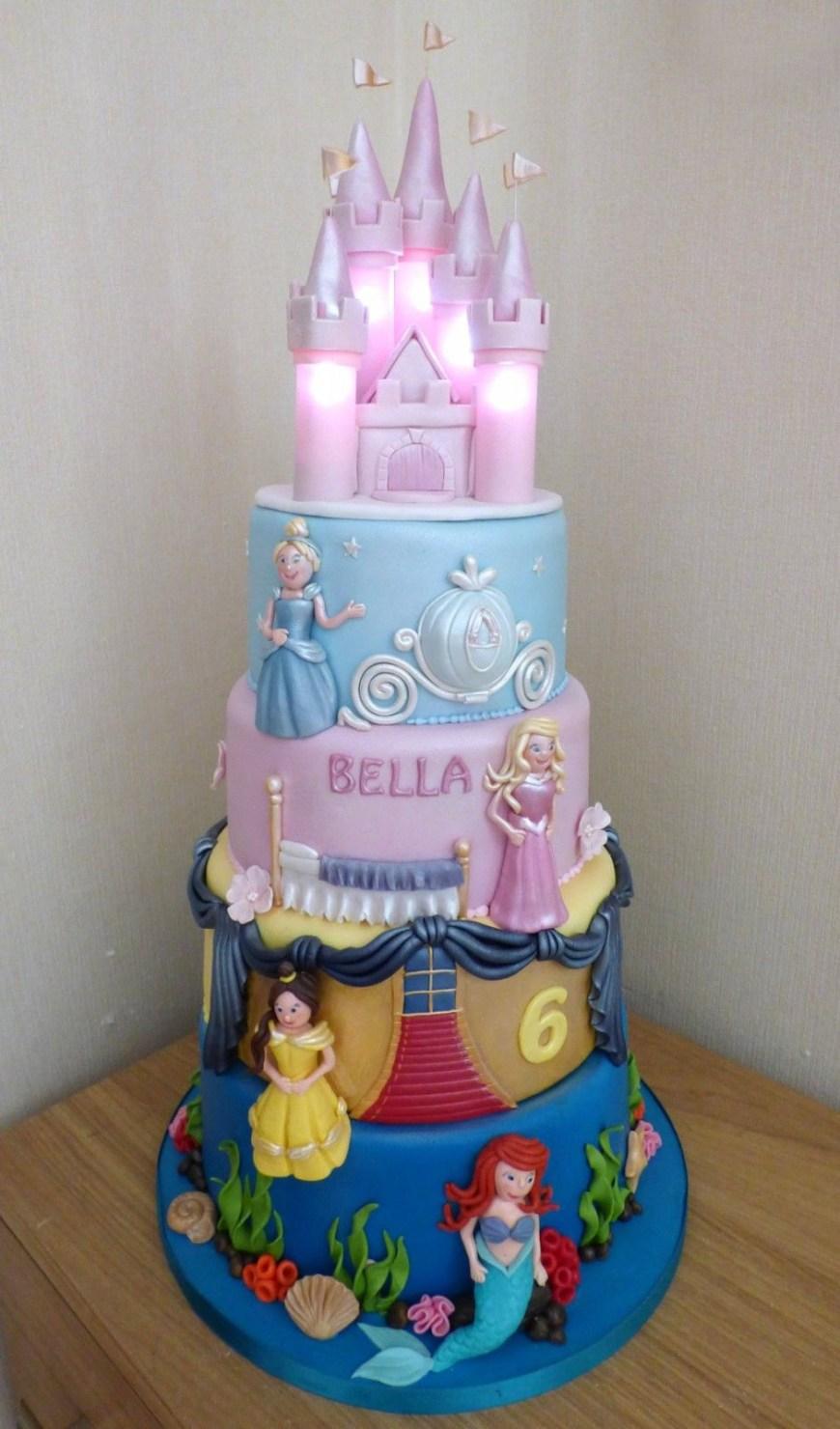 Disney Birthday Cake 4 Tier Disney Princesses Birthday Cake With An Illuminated Castle