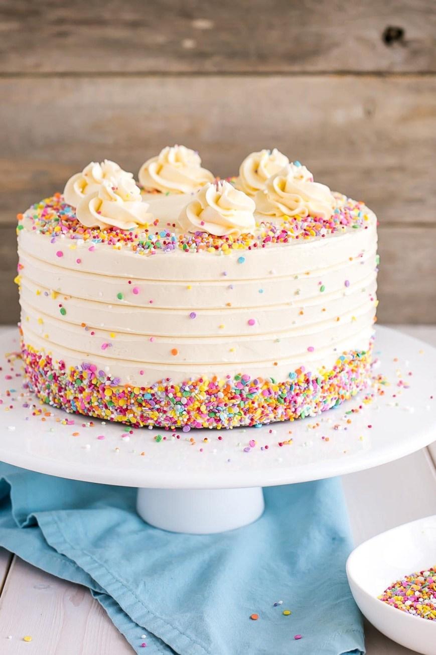 Easy Birthday Cake Recipes Vanilla Cake With Vanilla Buttercream Liv For Cake
