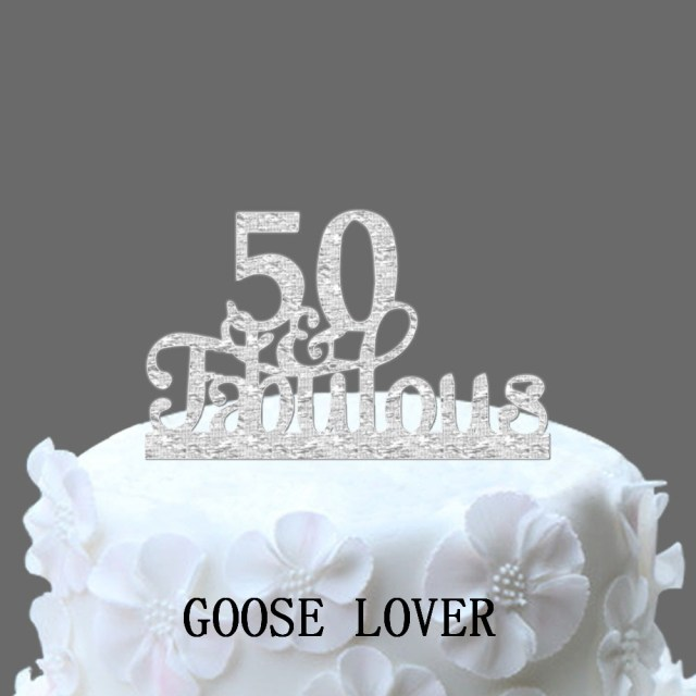 Fabulous Birthday Cakes 50th And Cake Topper Decoration Acrylic