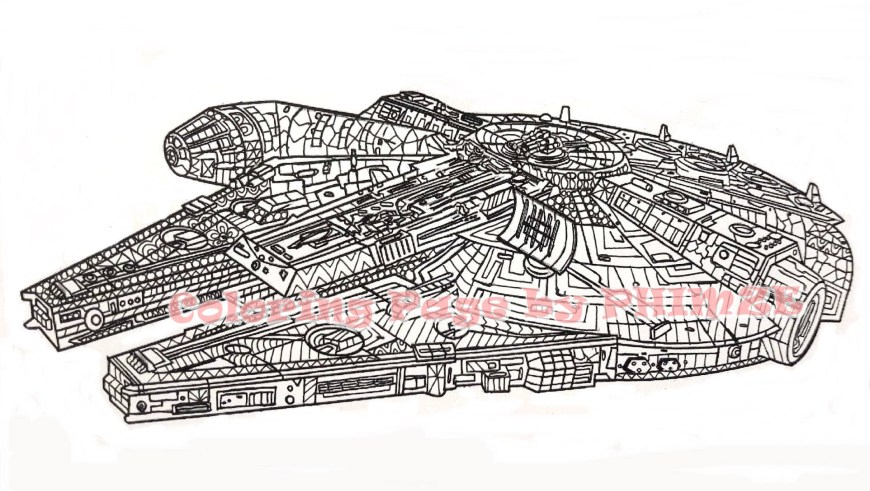 Falcon Coloring Pages Millennium Falcon Star Wars Coloring Page Coloring Pages Etsy