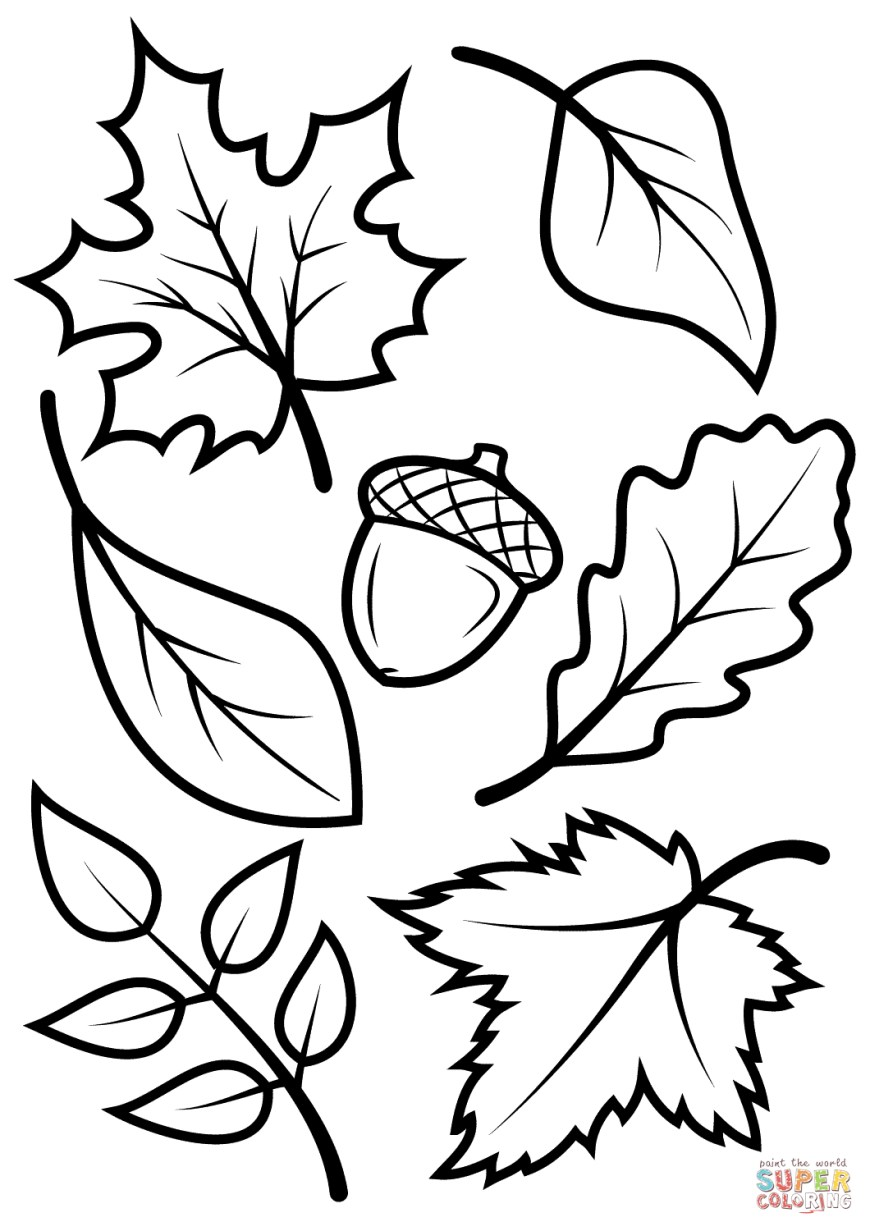 Fall Coloring Pages Fall Leaves And Acorn Coloring Page Free Printable Coloring Pages