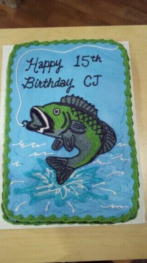 Fish Birthday Cakes Bass Fish Birthday Cake Cakecentral