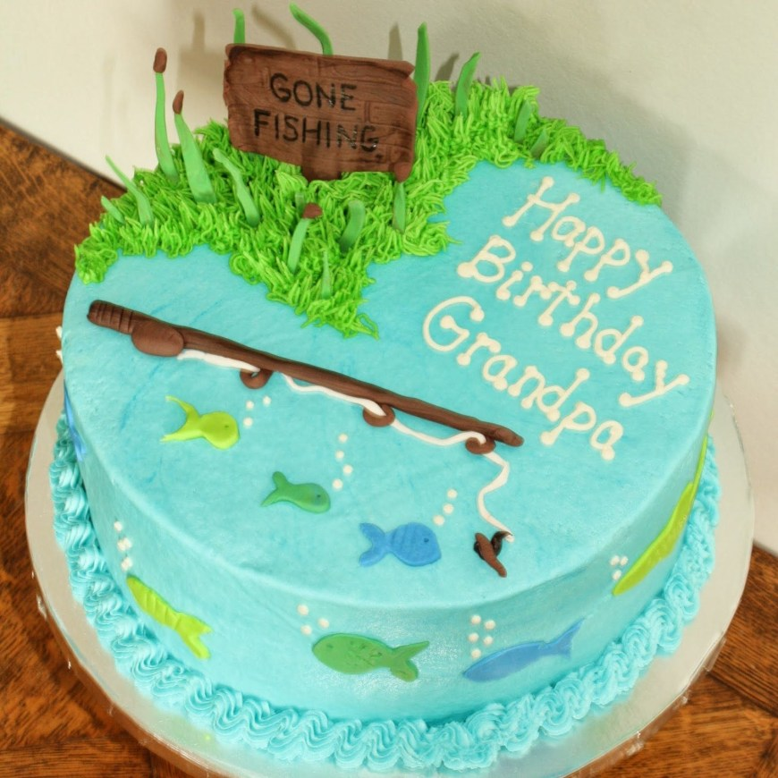 Fish Birthday Cakes Gone Fishing Cake 30th Bday Pinterest Cake Birthday Cake And