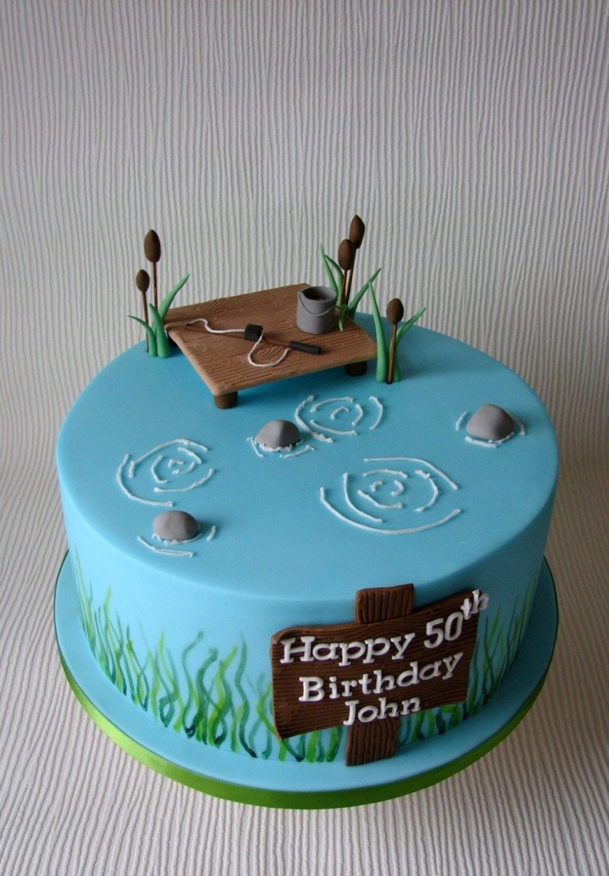 Fish Birthday Cakes Johns Fishing Themed Birthday Cake Cupcakes Cake Fish Cake
