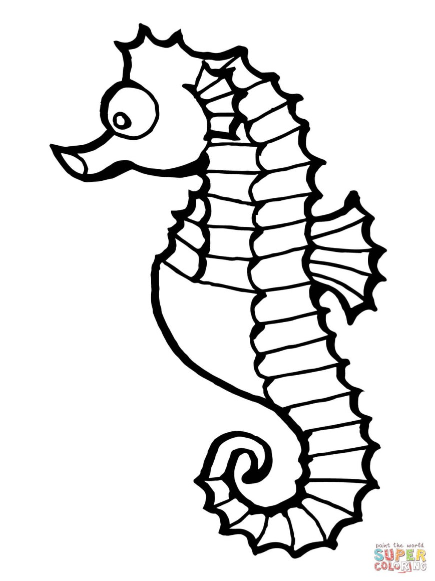 Fish Coloring Pages Seahorse Fish Coloring Page Free Printable Coloring Pages