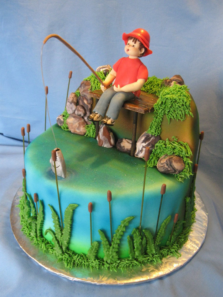 Fishing Birthday Cake Fishing Birthday Cakes Google Search South Fish Cake Birthday