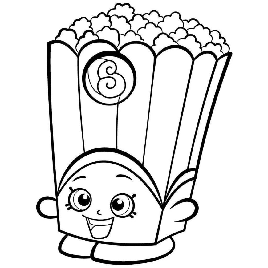 Free Shopkins Coloring Pages Shopkins Coloring Pages Easy Black And White Popcorn Box Season 2