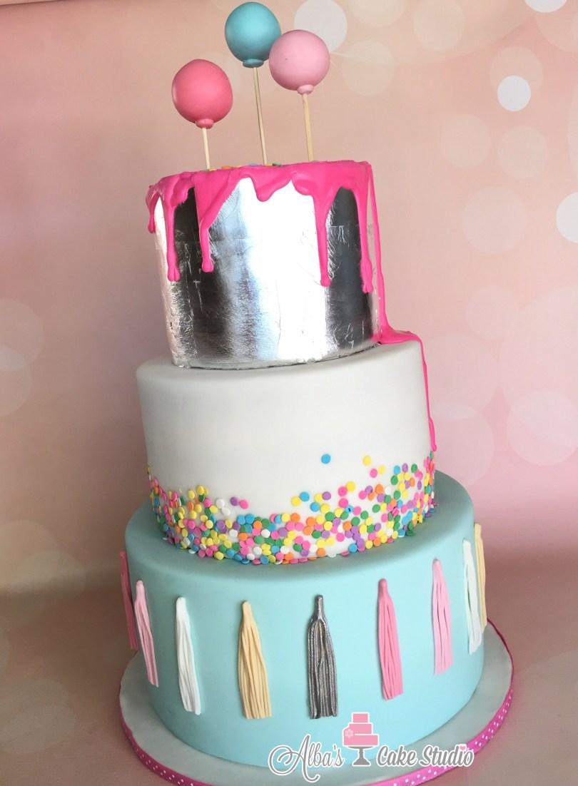 Fun Birthday Cakes Silver Leaf Cake Drip Cake Fun Birthday Cake Tassles Sprinkles