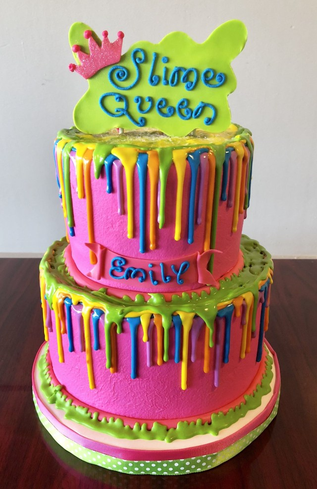 Fun Birthday Cakes Slime Queen Drip Cake Adrienne Co Bakery Little Girl Birthday