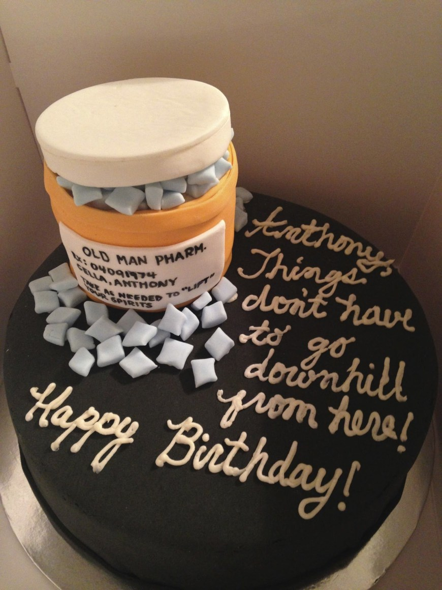Funny 40Th Birthday Cakes 40th Birthday Cake For A Man Viagra Funny Comedic Cake Custom
