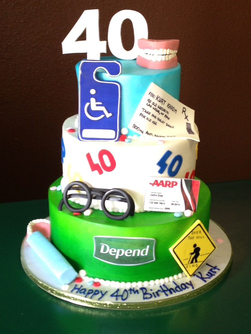Funny 40Th Birthday Cakes Getting Too Old For This Cake Designs Las Vegas Cakes