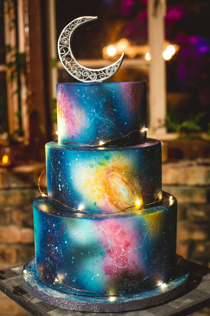 Galaxy Birthday Cake Eclectic Galaxy Print Wedding Cake Astronomy Theme Moon Cake