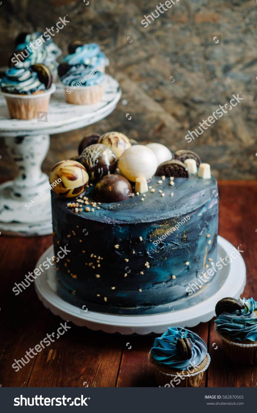 Galaxy Birthday Cake Galaxy Blue Birthday Cake Stock Photo Edit Now 582870565