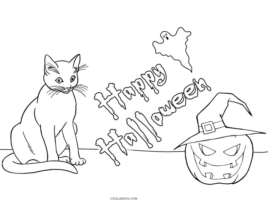 Halloween Cat Coloring Pages Halloween Cat Coloring Pages Theroarclub