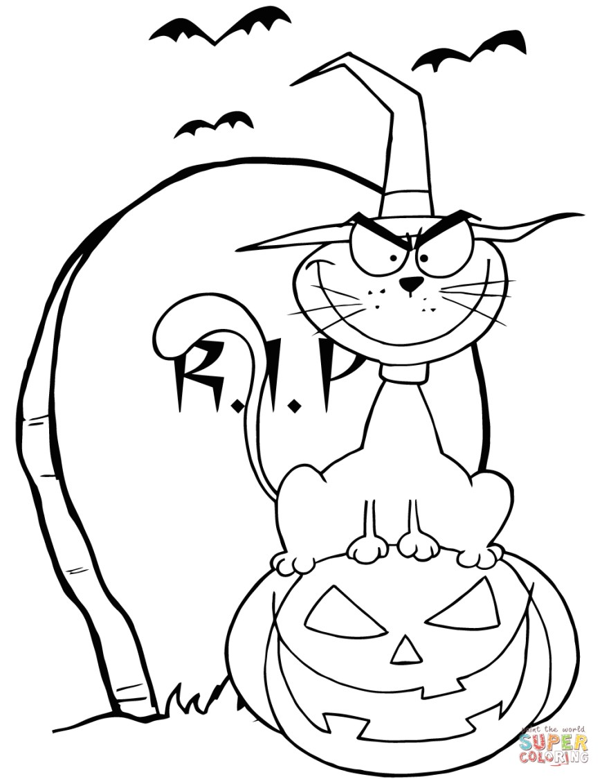 Halloween Cat Coloring Pages Halloween Cat On Pumpkin Near Tombstone Coloring Page Free
