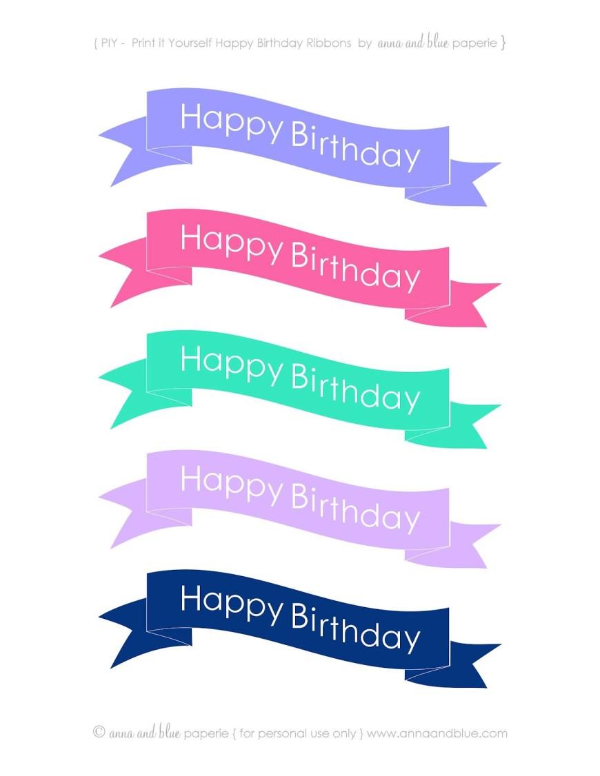 Happy Birthday Cake Banner Anna And Blue Paperie Free Printable Happy Birthday Cake Banners