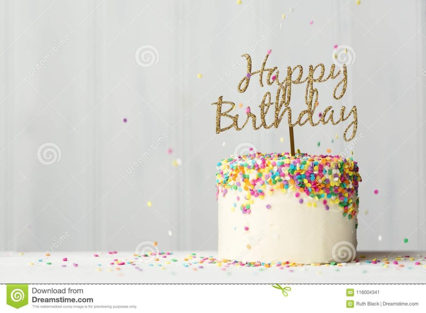 Happy Birthday Cake Banner Birthday Cake With Gold Banner Stock Image Image Of Golden