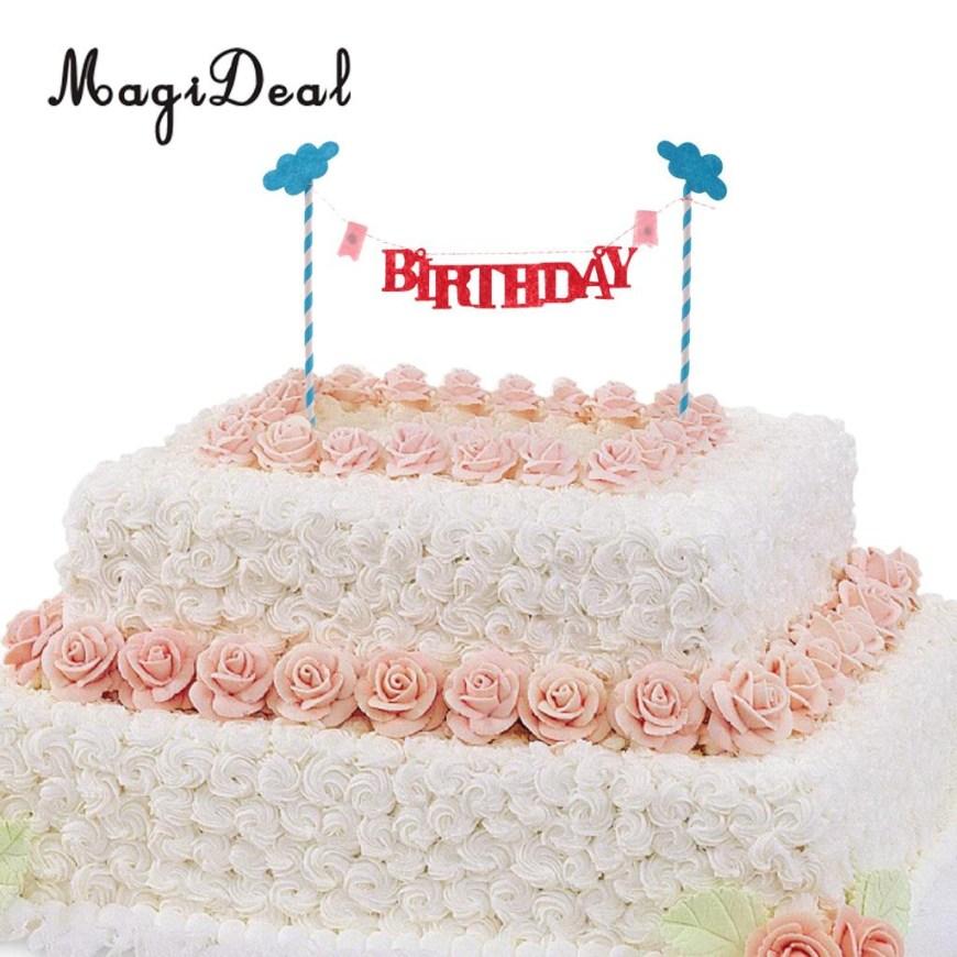 Happy Birthday Cake Banner Magideal New Arrival 10pcs Happy Birthday Cloud Cake Topper Cake