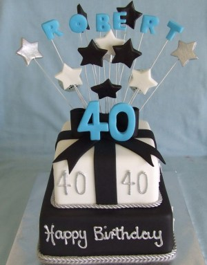 Happy Birthday Cake For Men Male Black And White Fondant Iced Mudcakes Dads