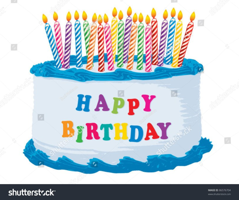 Happy Birthday Cake Images Blue Happy Birthday Cake Stock Vektorgrafik Lizenzfrei 86576704