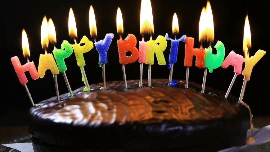 Happy Birthday Cake Pic Lighted Candles On A Happy Birthday Cake Candles With The Words