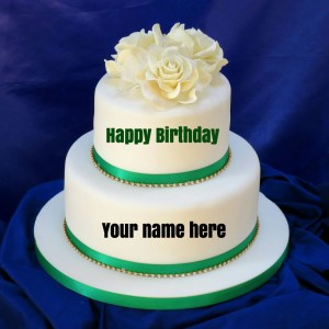 Happy Birthday Cake With Name Double Layer Vanilla Birthday Cake With Name For Sisterget Name On