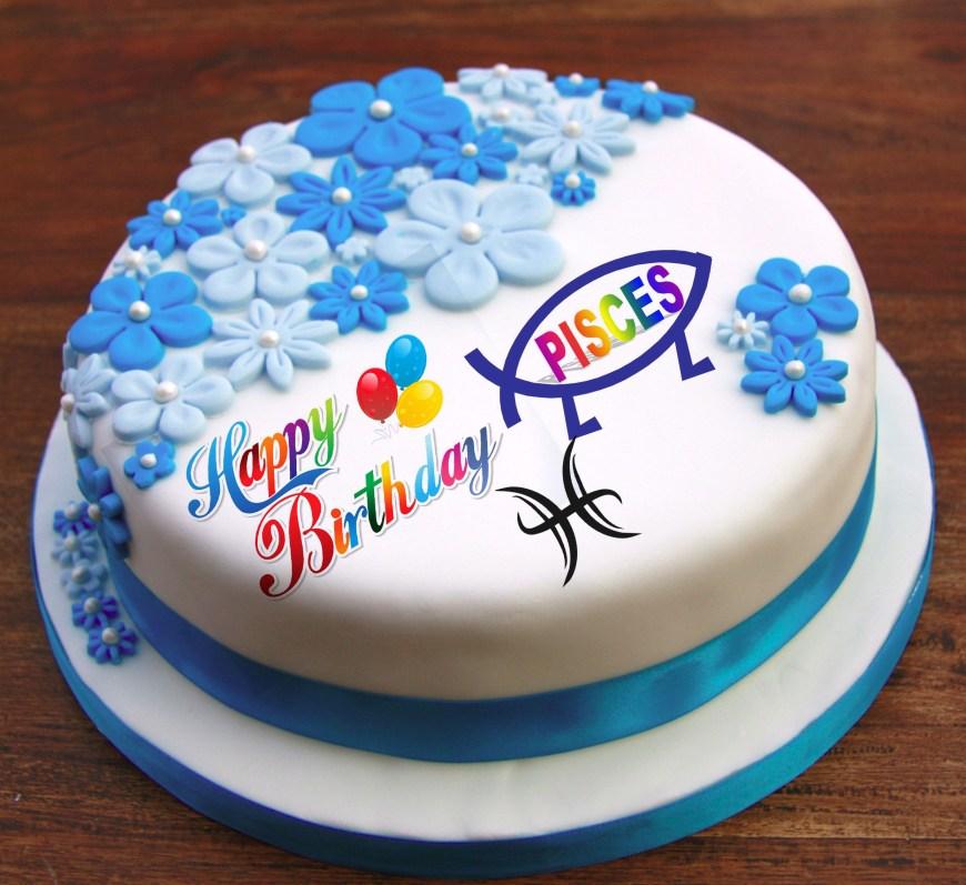 Happy Birthday Cake With Name Happy Birthday Pisces Free Hit Birthday Happy Birthday