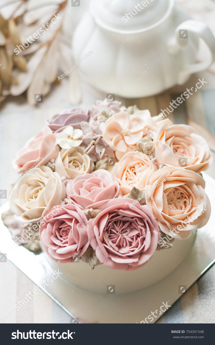 Happy Birthday Flower Cake Buttercream Flower Cake Happy Birthday Cake Ez Canvas