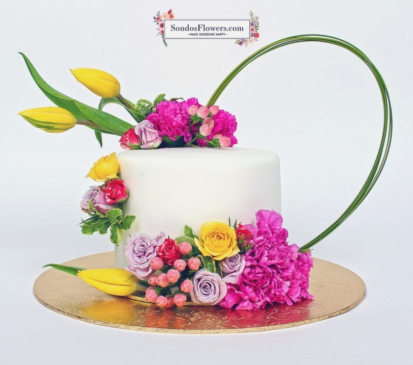 Happy Birthday Flower Cake Happy Birthday Flower Cake With Name Colorfulbirthdaycakesga