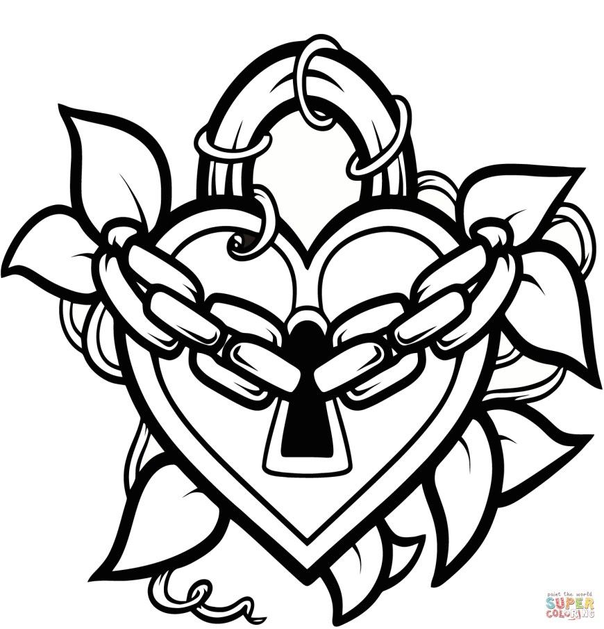 Heart Coloring Page Locked Heart Coloring Page Free Printable Coloring Pages