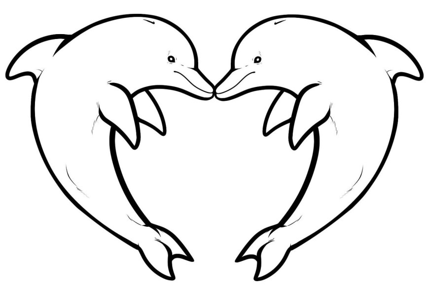 Heart Coloring Page Two Dolphins Forming A Heart Animals Adult Coloring Pages