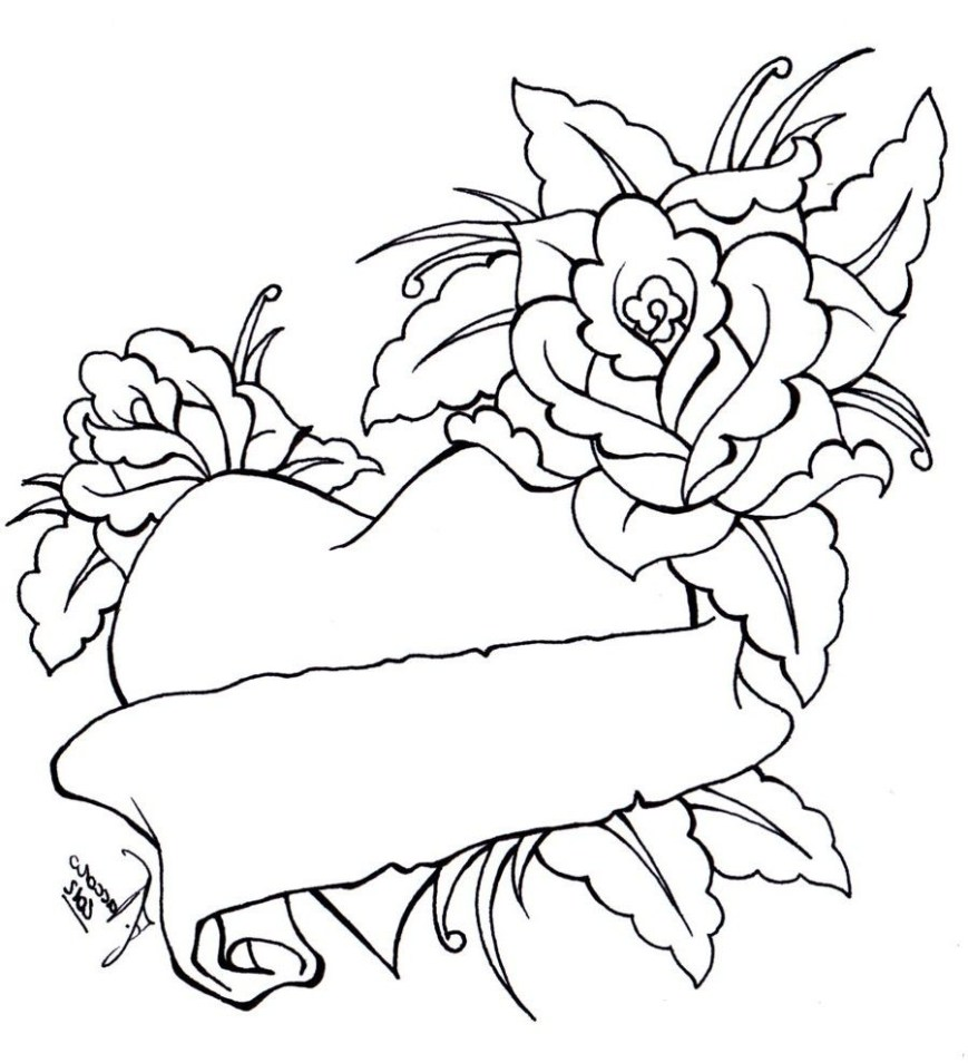 Hearts Coloring Pages Special Roses And Hearts Coloring Pages Gallery Design Ideas
