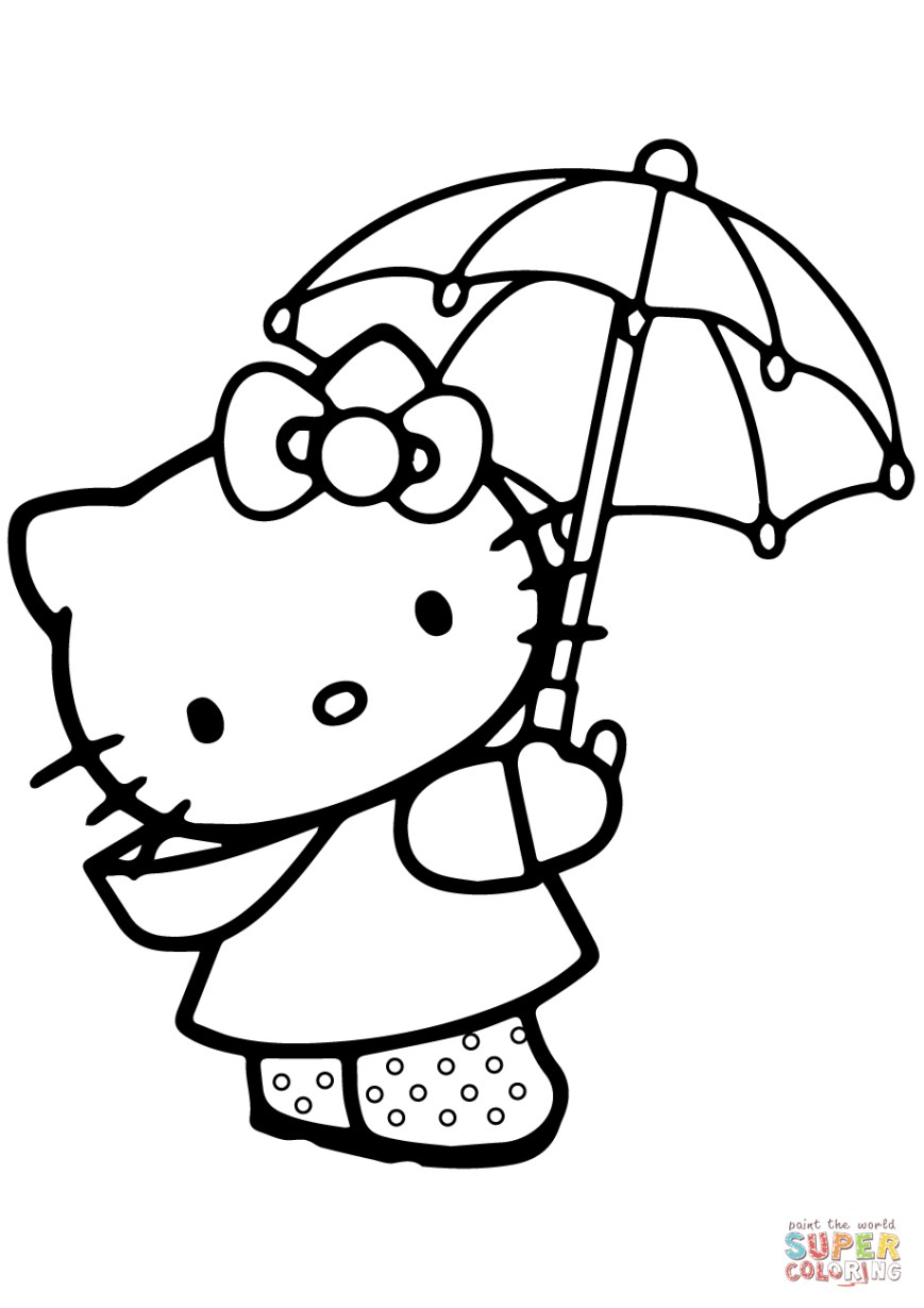 Hello Kitty Color Pages Lovely Hello Kitty Under The Umbrella Coloring Page Free Printable