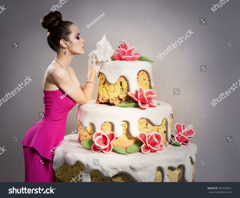 Huge Birthday Cake Girl Near Huge Birthday Cake Stock Photo Edit Now 281923241